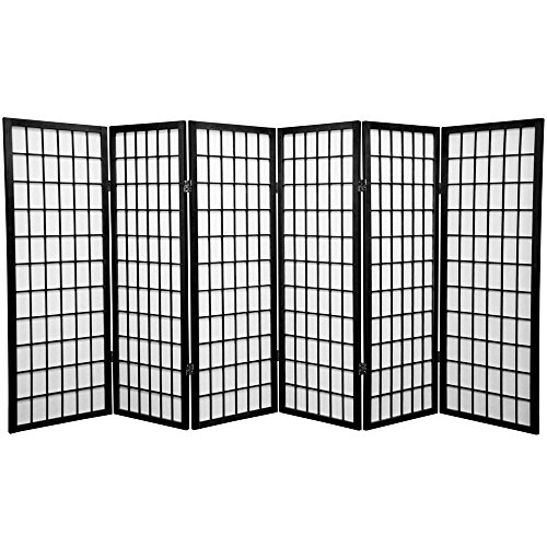 (Oriental Furniture 4 ft. Tall Window Pane Shoji Screen - Black - 6 Panels)