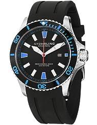 Stuhrling Original Mens 706.02 Aquadiver Regatta Quartz Date Blue Accent Rubber Strap Diver Watch