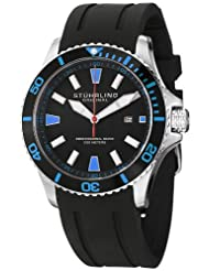 Stuhrling Original Men's 706.02 Aquadiver Regatta Diver Sport II Swiss Quartz Date Blue Accent Rubber Strap Watch