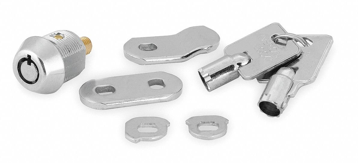 Alike-Keyed Standard Keyed Cam Lock Key # 15546, For Door Thickness (In.): 3/8, Bright Nickel