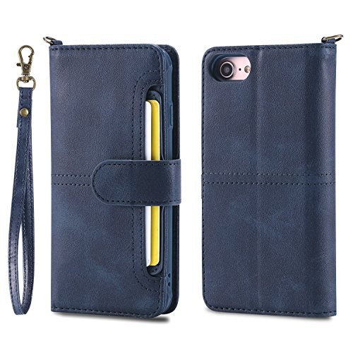 DAMONDY iPhone 8 Case iPhone 7 Case, Detachable 2 in 1 Cover Stand Wallet Purse Card Slot ID Holders Design Flip Cover Pocket Purse Leather Magnetic Protective for iPhone 7/iPhone 8-blue by DAMONDY