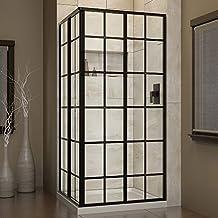 DreamLine French Corner 34 1/2 in. D x 34 1/2 in. W x 72 in. H Framed Sliding Shower Enclosure in Satin Black, SHEN-8134340-89