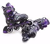Childrens Kids Boys Girls 4 Wheel Adjustable Inline Skates Roller Blades Boots (Purple, Medium /UK 2 - 4/)