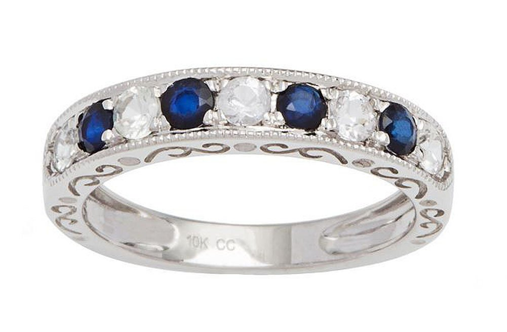 10k Rhodium-Plated White Gold Sapphire and Created White Sapphire Vintage Style Anniversary Wedding Band