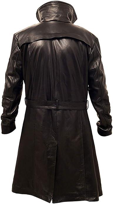 Mens German Classic Fur Long Trench Winter Coat German Long Faux Leather Black Coat