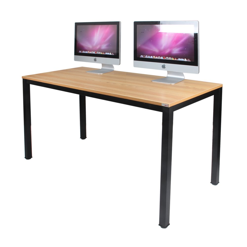NeedHome Computer Desk 55inches PC Desk Office Desk Workstation for Home Office Use Writing Table, Teak&Black AC3BB-140-SH ... by SogesHome