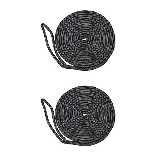 SGT KNOTS Double Braid Nylon Dockline (2-Pack, 1/2 in x 25 ft, Black) - Braided Nylon Rope Docklines - Marine Ropes for Boat/Boats - Dock Lines ()