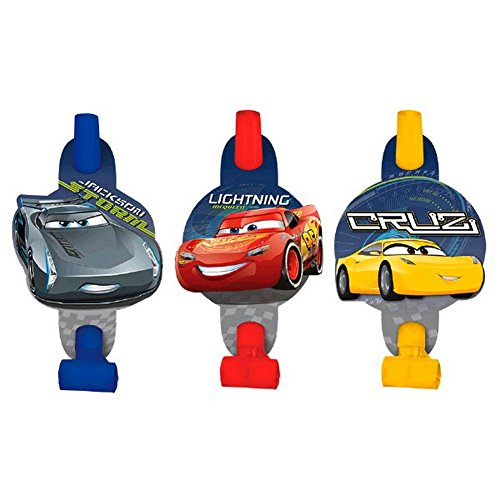 Disney Cars 3 - 8 Hats and 8 Blowouts Birthday Bundle Pack