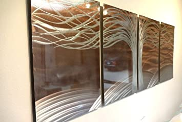 Metal Wall Art, Modern Home Decor, Abstract Wall Sculpture – Burnt Copper – Tree of Life by Miles Shay