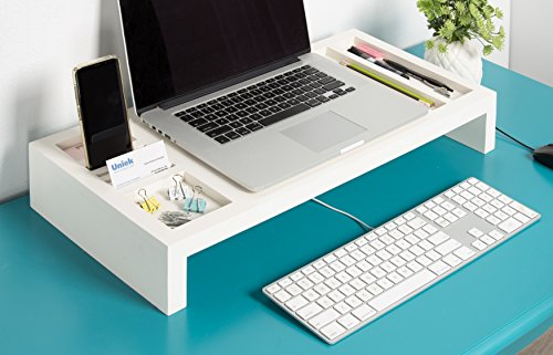 Kate and Laurel Briggs Wooden Laptop Monitor Stand and Desktop Organizer, White