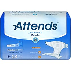 Attends Advanced Briefs with Advanced Dry-Lock Technology for Adult Incontinence Care, Medium, Unisex , 24 count (Pack of 4)