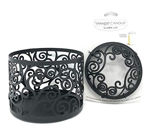 Yankee Candle Black Scroll Jar Holder & Illuma-lid Jar Candle Topper Set Gift Set ()