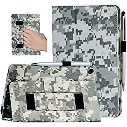 "Amazon Fire case, i-UniK Amazon Fire 7"" Display Wi-Fi 8 GB Tablet 5th Generation 2015 Release Classic Leather Case Bonus Stylus Pen (ACU CAMO)"