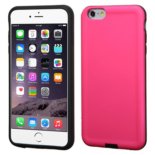 Asmyna Advanced Armor Protector Cover for iPhone 6 Plus - Retail Packaging - Hot Pink/Black