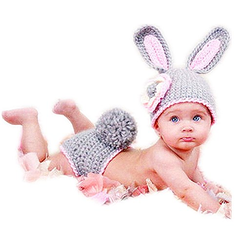 Baby Costumes Parent (SIKEMAI Newborn Photography Props Outfits - Baby Girl Knitted Hat Pants Gray Rabbit Costume)