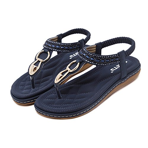 Navy Glitter Strap T Sandals Women Bohemian Flat DolphinBanana Blue Shoes Prime Summer Thong KPR4Hf
