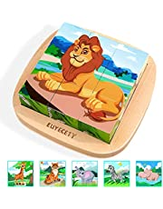 Euyecety Toddler Puzzle 6 in 1 Wooden Block Puzzle, Kids Puzzle for 2 3 4 5 Years Old, Peg Puzzle Montessori Educational Learning Toy, Animal Wooden Cube Puzzle with Storage Tray, Gift for Boys Girls