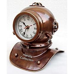 Vintage Antique Brass Divers Diving Helmet Clock Nautical Collectible Desktop Decorative
