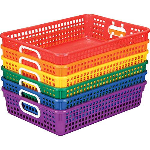 """(Really Good Stuff Plastic Desktop Paper Storage Baskets for Classroom or Home Use – Plastic Mesh Baskets in Fun Rainbow Colors – 14.25"""" x 10"""" – (Set of 6))"""
