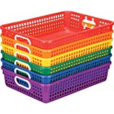 Really Good Stuff Plastic Desktop Paper Storage Baskets for Classroom or Home Use – Plastic Mesh Baskets in Fun Rainbow Color