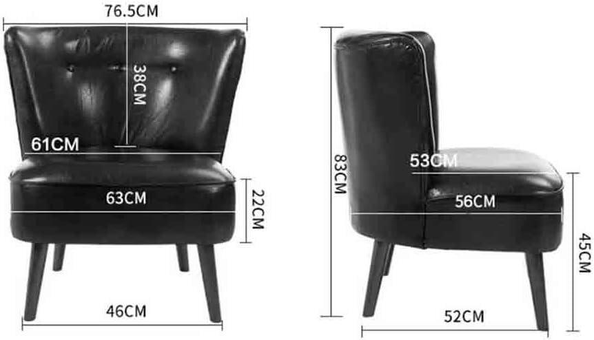WGXX Fußhocker & Polsterhocker Nordic Simple Single Kunstleder Freizeit Sofa Stuhl Wohnzimmer Stuhl Café-Nachtisch-Tee-Geschäft Seat Balcony Bedroom Reading (Color : Black) Black