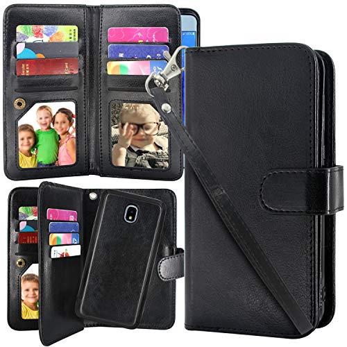 Galaxy J7 2018/J7 Aero/J7 Top/J7 Refine/J7 Eon/J7 Star/J7 Crown/J7 Aura Case, Harryshell Luxury 12 Card Slots Detachable Magnetic Wallet Shockproof PU Leather Flip Case Cover (Black)
