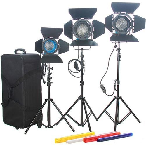 Came-TV Fresnel Tungsten Video Spot Lights, 2x 1000W & 1x 650W (Fresnel Spotlight)