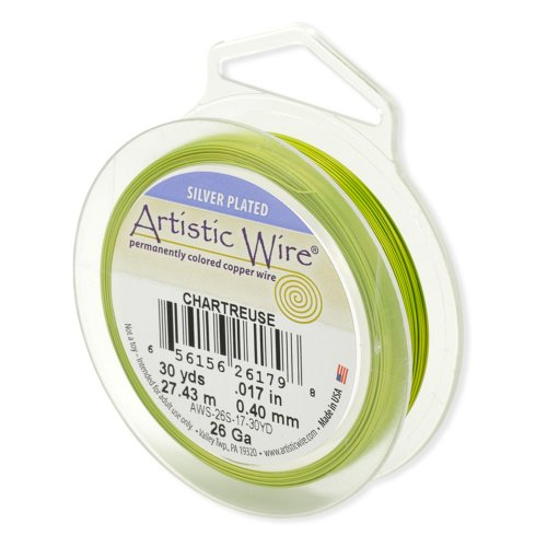 Beadalon Artistic Wire 28-Gauge Silver Plated Chartreuse Wire, 40-Yards