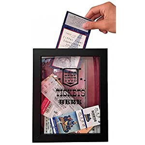 Ticket Shadow Box – 8×10″ Memento Frame – Large Slot on Top of Frame – Memory Box Storage for Any Size Tickets. Best Top Loading Shadowbox for the Concert Movie Theater & Sporting Event Ticket Stubs