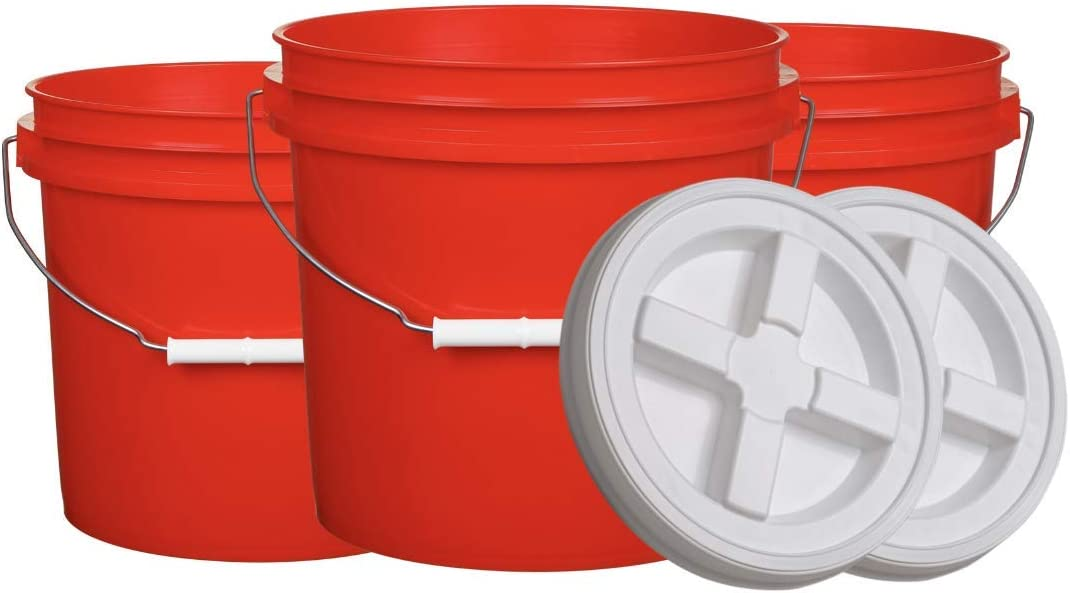 House Naturals 2 Gallon Red Bucket with Gamma Screw on Lid - BPA Free- Food Grade ( Pack of 3) Made in USA
