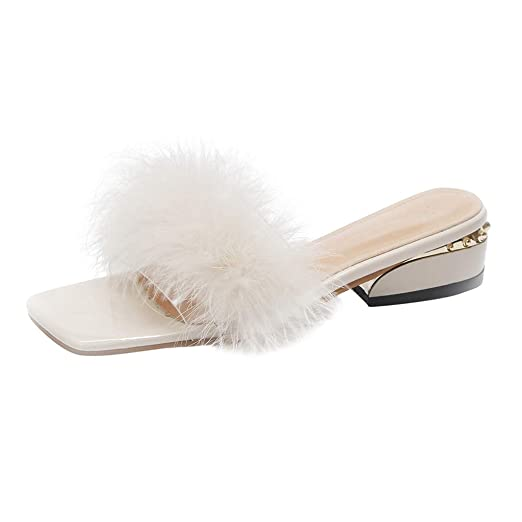 b7e9aa29ebdee6 Summer Slippers for Women - Low Chunky Heel Roman Shoes for Indoor Outdoor  - Flat Faus