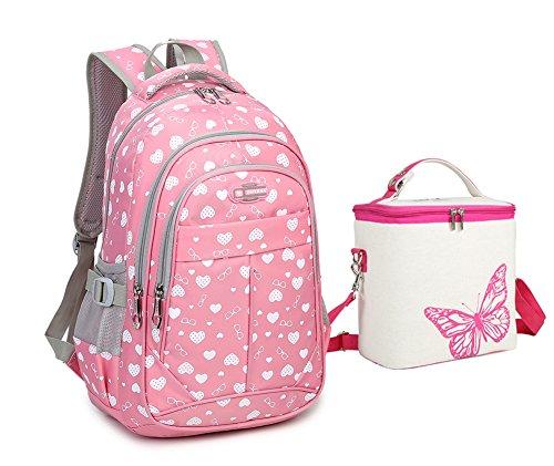 Kid Book Bag - Tonlen Youth Kids Girls Heavy Duty Book Bag School Backpack and Lunch Bag Set Pink