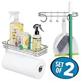 mDesign Wall Mount Paper Towel Holder with Shelf & Broom and Mop Holder - Set of 2, Chrome