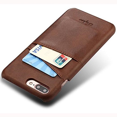 Aulzaju iPhone 7 Plus Luxury Synthetic Leather Case, iPhone 8 Plus Super Slim Cow Leather Credit Card Case Fashion Comforatable Wallet Cover for iPhone 7 Plus/8 Plus-Brown by Aulzaju