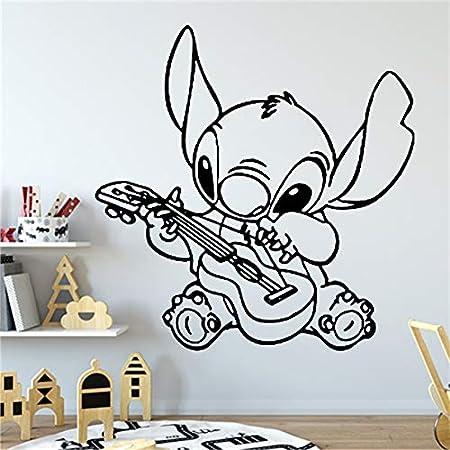 wZUN Tocar la Guitarra Vinilo calcomanía decoración Familia bebé habitación Infantil decoración de la habitación 28X28cm