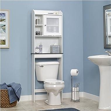 Sauder Caraway Etagere Bath Cabinet, Soft White Finish