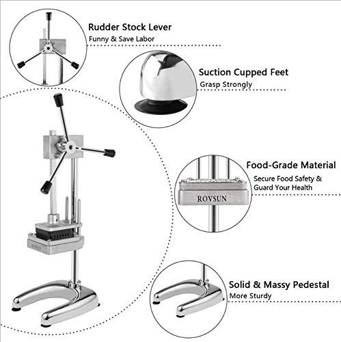 ROVSUN Upgraded Commercial Grade French Fry Cutter with Rudder Stock Lever, Vertical Fruit Vegetable Potato Slicer, Including Suction Feet,1/2-Inch,3/8-Inch,1/4-Inch Blades and Pusher Blocks by ROVSUN (Image #3)