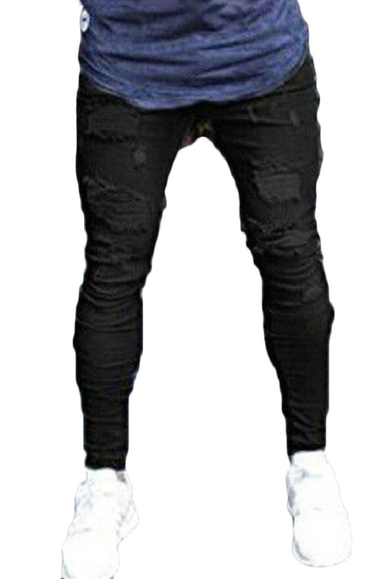 GAGA Men's Distressed Destroyed Holes Jeans Zipper Biker Skinny Ripped Tousers Black XS by GAGA-men clothes (Image #1)