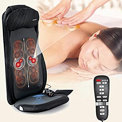 Belmint Customizable Shiatsu Neck & Back Massage Cushion – Delivers Pinpoint Massage with Deep Kneading, Rolling, Vibrating & Heat Functions – Car Adapter Included
