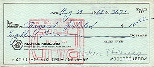 Helen Hayes (d. 1993) Signed Autographed Vintage 1968 Personal Check