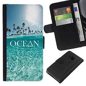 Planetar® Modelo colorido cuero carpeta tirón caso cubierta piel Holster Funda protección HTC One M9 ( Ocean Text Sky Blue Summer Palm Tree )