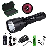 "C8 850NM LED Infrared Torch - Outdoor IR Flashlight - Compact Plane Mirror Infrared Illuminator + Recharge Battery + Charge + Remote Pressure Switch+ 1"" Scope Ring Set, Low Profile (All-in-One Kit)"