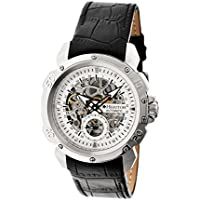 Heritor Carter Silver Skeleton Dial Black Leather Mens Watch (HR2503)