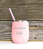 Because Kids Stainless Wine Glass in Pink Color with Clear Plastic Lid and Coordinating Straw