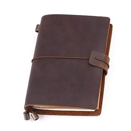 Cuero Cuaderno de Notas,Diario de Viaje Cuaderno Cuero Libreta Cuaderno Vintage Perfecto para Escribir Poesía Biblia El Mejor Regalo Recargable & ...
