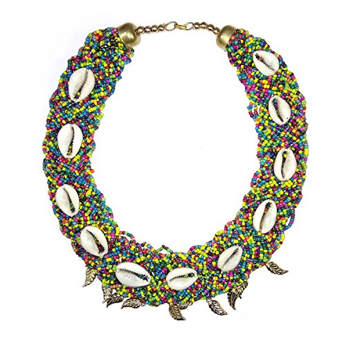 Wool Beaded Shell - Full Beaded Cowrie Shell Chain Necklace With Brass Leaves Boho Gypsy African Tribal Banjara Jewellery Handmade Crafted Womens Fashion Jewellery - Multicolor
