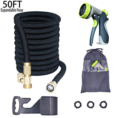 Bucham Expandable Garden Hose(50FT), Flexible Water Hose for Outdoor Gardening Yard with 8 Pattern Spray Nozzle,3 Layer Latex Inner Tube+3/4 Solid Brass Connectors by Bucham