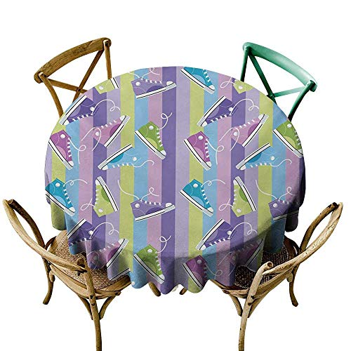 (Wendell Joshua Vinyl Tablecloth 54 inch Retro,Different Colored Sneakers on Vertically Striped Backdrop Youth Footwear Fashion,Multicolor Indoor/Outdoor Spillproof Table Cloth)