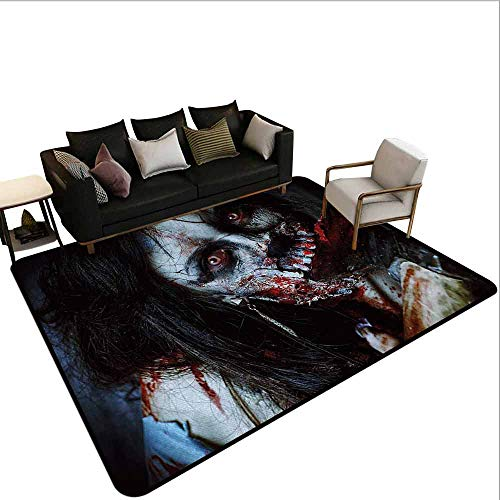 (AlEASYHOME Home & Kichen Area Rugs, Scary Dead Woman with a Bloody Axe Evil Fantasy Gothic Mystery Halloween Picture, 31