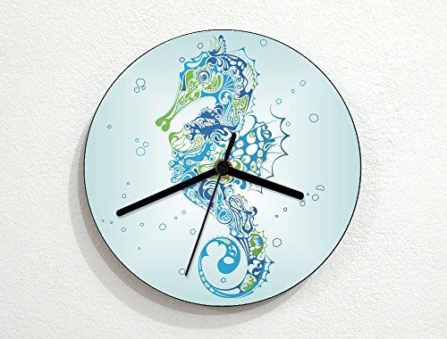 (Tribal - Hippocampus - Sea Horse - Floral Pattern Art Design - Novelty Gift - Custom Name Wall Clock)